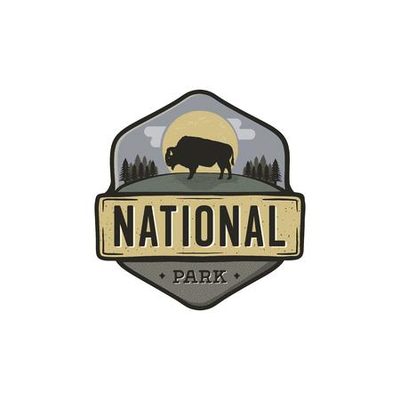 National park vintage badge. Mountain explorer label. Outdoor adventure icon design with bison. Travel and hipster insignia. Wilderness, forest camping emblem. Hiking, backpack. Stock vector illustration. Illustration