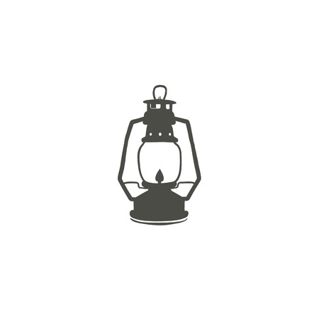 Camping lantern icon silhouette icon. Oil lamp black symbol, pictogram. Stock vector illustration isolated on white background