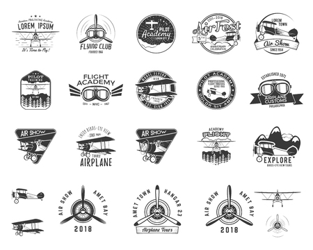 Vintage hand drawn old fly stamps. Travel or business airplane tour emblems. Biplane academy labels. Retro aerial badge isolated. Pilot school logos. vector illustration. Illustration
