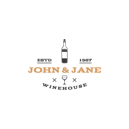 John and Jane Wne house. Wine house icon.  Winery, premium quality sign. Stock vector label illustration isolated on white background Иллюстрация