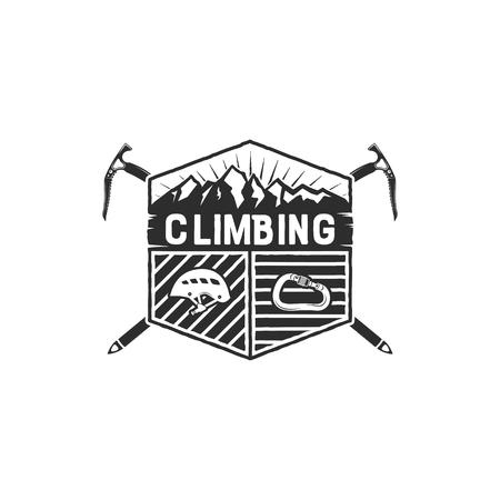 Mountain Adventure, Climbing Vintage Hand Drawn Emblem Template. Outdoor activity sport symbol. Carabiner and helmet elements. Monochrome design. Stock Vector illustration isolated. Illustration