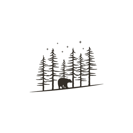 Vintage hand drawn forest concept with bear.