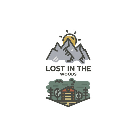 Vintage hand drawn travel badge. Camping label concept. Mountain expedition logo design. Travel badges. lumberjack logotype. Lost in the woods sign. Stock vector patch isolated on white. Stock Illustratie