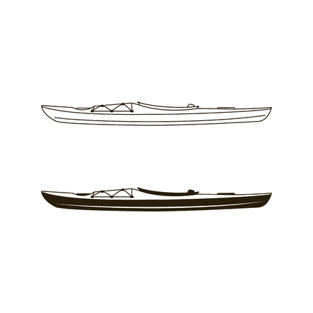 Kayak canoe icons in flat filled and line art style. Linear and silhouette styles pictograms. Stock vector illustration isolated on white background. Vettoriali