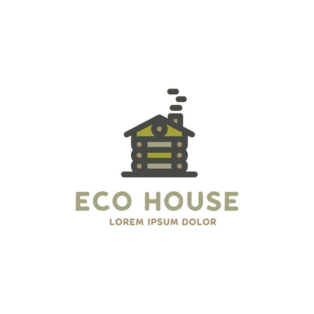 Eco house logo template. Flat design concept of eco house, wooden house. Stock vector logotype isolated on white background.