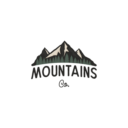 Mountains logo design vector template. Mountains logo co concept with trees. Vintage hand drawn style. Stock vector adventure insignia isolated on white background Illustration