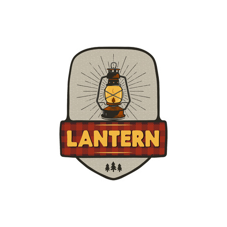 Vintage hand drawn camping logo with lantern. Retro style camping logo. Outdoor adventure badge design. Travel and hipster emblem. Wilderness theme. Stock vector isolated on white background