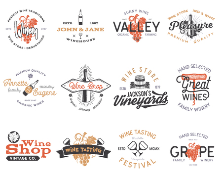 Wine logos, labels set. Winery, wine shop, vineyards badges collection. Retro Drink symbol. Typographic design wine logos vector illustration. Stock vector emblems isolated on white background.
