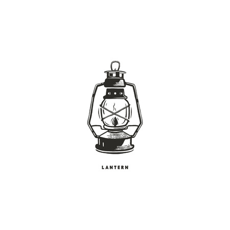 Vintage hand drawn lantern concept. Perfect for logo design, badge, camping labels. Monochrome. Symbol for outdoor activity emblems. Stock vector illustration isolated on white background Archivio Fotografico - 96365440