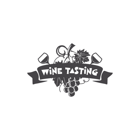 Wine tasting, winery logo template. Drink, alcoholic monochrome art, beverage symbol. Vine icon and typography design. Winery logo, premium quality sign. Stock vector illustration isolated on dark