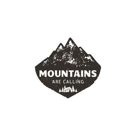Vintage hand drawn mountain logo. The great outdoor patch. Mountains are calling sign quote. Monochrome and grunge letterpress effect. Stock vector mountain logo isolate on white background