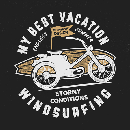 Vintage hand drawn windsurfing, surfing tee graphic design. Summer travel t shirt. poster concept with retro surfboard and motorcycle. Surfing tee design template stock vector emblem isolated.