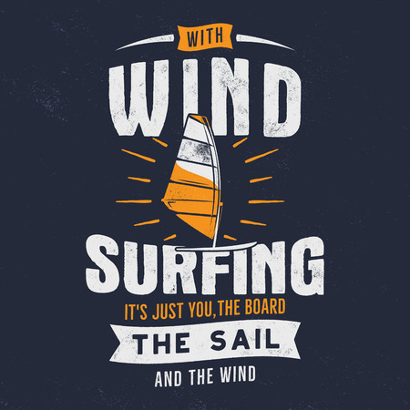 Vintage hand drawn windsurfing, kitesurfing tee graphic design. Summer travel t shirt. poster concept with retro surfboard and typography. Surfing tee design template. Stock vector emblem isolated