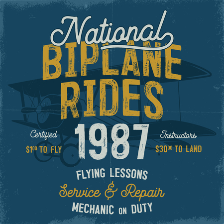 Vintage hand drawn tee graphic design. National Biplane Rides quote. Flying lessons, service repair sign. Mechanic on duty. Typography retro colors airplane. Stock vector illustration. Banque d'images - 96834528