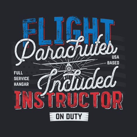 Vintage hand drawn tee graphic design. Flight Instructor quote. USA based sign. Mechanic on Duty. Typography retro colors airplane. Stock vector illustration, poster, background