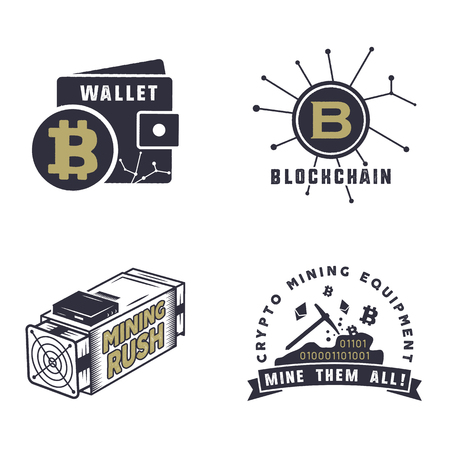 Blockchain, bitcoin, crypto currencies emblems and concepts. Digital assets logos. Vintage hand drawn monochrome design. Miners, wallet badges. Stock vector illustration isolated on white background.