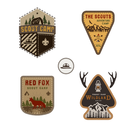 Travel badge, outdoor activity logo collection. Scout camp emblem set. Vintage hand drawn travel badge design. Stock vector illustration, insignias, rustic patches. Isolated on white background