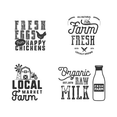 Farmers Market, organic food logo vector illustration set