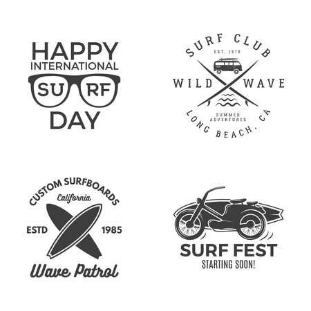 Vintage Surfing Graphics and Emblems vector illustration set Illustration