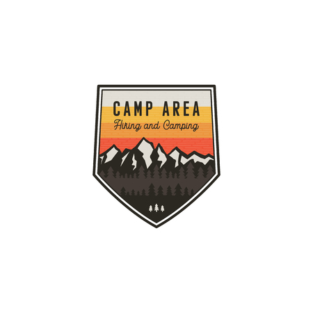 Camping area and hiking vintage badge. Mountain explorer label. Outdoor adventure logo design with lantern. Travel and hipster vintage badge. Wilderness camping emblem. Stock vector insignia isolated