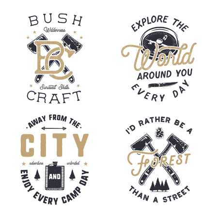 Vintage hand drawn travel logos and emblems set. Hiking labels. Outdoor adventure inspirational logos. Typography retro style. Motivational travel logos, quotes for prints, t shirts. Stock vector Illustration