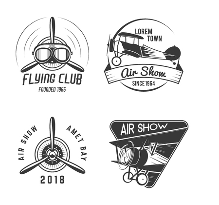 Vintage hand drawn old fly stamps. Travel or business airplane tour emblems. Biplane academy labels. Retro aerial badge isolated. Pilot school logos. Plane tee design, prints. Stock vector Illustration