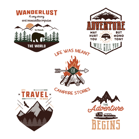 Vintage adventure tee shirts designs, summer logo set. Hand drawn travel labels. Mountain explorer, wanderlust, expedition emblems. Summer logo. Isolated on white background. Vector illustration