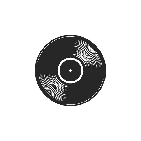 Vintage hand drawn vinyl LP record with gray label. Black Old technology, realistic retro design. Illustration. Stock vector musical plate icon isolated on white background