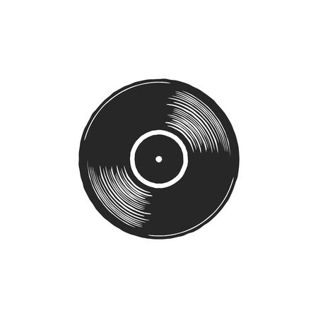 灰色のラベルが付いているヴィンテージ手描きのビニールLPレコード。ブラックオールドテクノロジー、リアルなレトロなデザイン。図。白い背景に