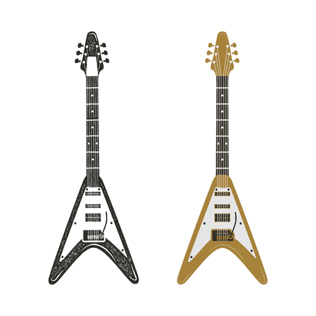 Black and retro color electric guitar set. Vintage hand drawn rock guitars isolated on white background. Guitar icons. Modern grunge and rock style. Hipster style illustration, pictogram