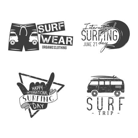 Vintage Surfing Graphics and Emblems for web design or print.