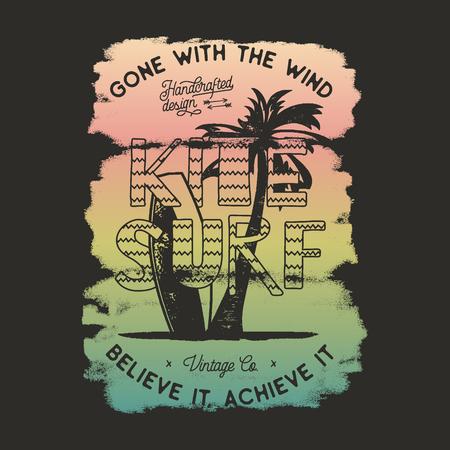 Vintage windsurf dibujado a mano, diseño gráfico de camiseta de kitesurf. Camiseta de viaje de verano. Concepto de cartel con tabla de surf retro y tipografía. Plantilla de diseño de camiseta de surf. Vector stock emblema aislado
