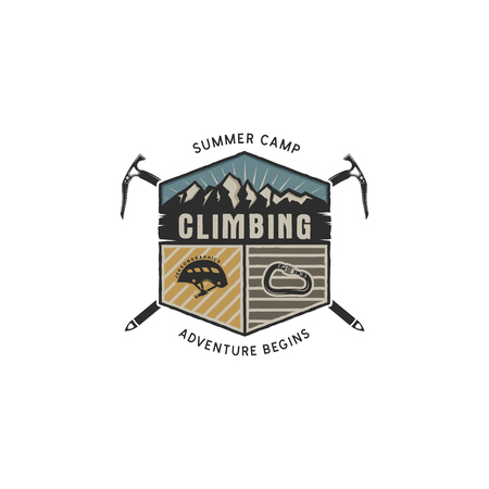 Climbing Vintage Hand Drawn Emblem Template Çizim