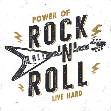 Vintage Hand Drawn Rock n Roll Poster, Rock Music Poster. Hard Music Tee Graphics Design. Rock Music T-Shirt. Power of Rock n Roll quote. Stock vector retro wallpaper, emblem isolated on white