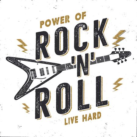 Vintage ręcznie rysowane plakat rock n roll, plakat muzyki rockowej. Projekt graficzny koszulki twardej muzyki. Koszulka z muzyką rockową. Cytat Power of Rock n Roll. Zdjęcie retro tapeta, godło na białym tle Ilustracje wektorowe