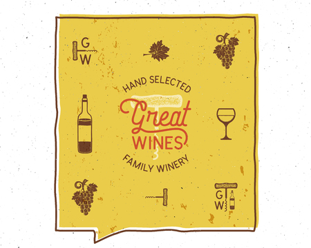 Wine, winery logo and icons, elements. Drink, alcoholic beverage symbol, monogram. Wine bottle, glass, grape, leaf. Great wines lettering. Stock vector poster isolated on white background Illustration