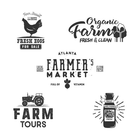 A Farmers Market, organic food logo, eco badges set. Fresh and Local product label designs.