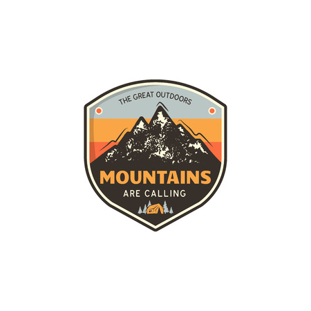 Travel logo design concept. Retro colors style. Mountain adventure badge, travel logo template. Camping patch, prints.   Stock vector travel label isolated on white background