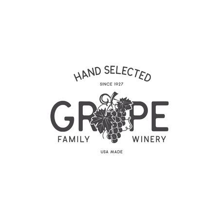 Family Wine shop, winery logo template concept. Vine, leaf and typography design. Stock vector emblem for winery, wine shop logotype, store isolated on white background