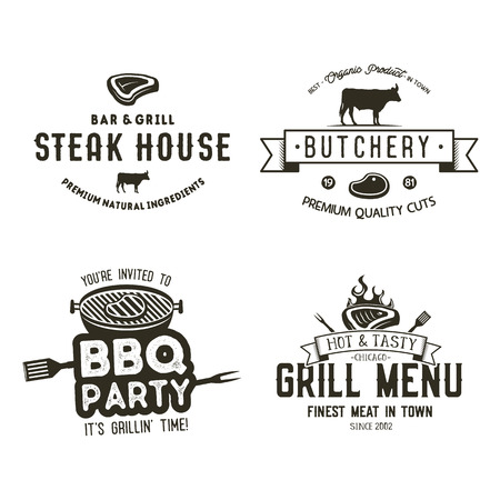 Set of vintage hand drawn steak house logo concept designs.