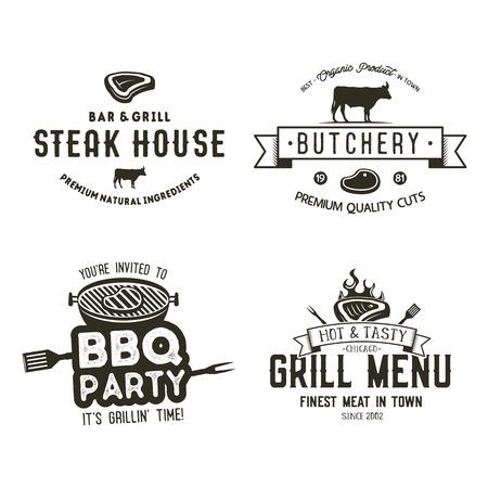 Set of vintage hand drawn steak house logo concept designs.