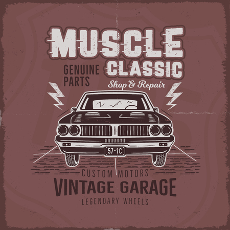 Vintage hand drawn muscle car t-shirt design. Classic car poster with typography retro style poster with red grunge background. Old car icon, emblem template stock vector illustration.