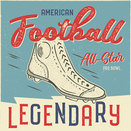 Classic usa football t shirt design. American football tee graphic design. All star bowl sign. USA football vintage t shirt with retro football boots. Legendary sign. Retro sports poster. Stock vector