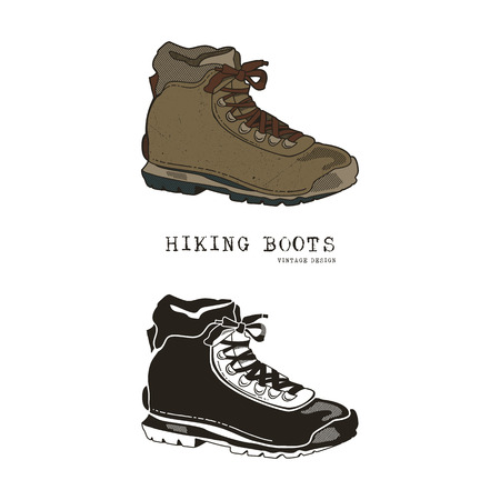 Vintage hand drawn travel boots in retro color and monochrome style. Hiking footwear label, grunge textured.