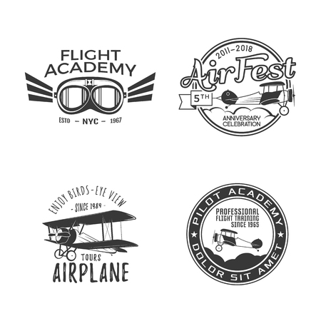 Vintage hand drawn old fly stamps. Travel or business airplane tour emblems. Illustration