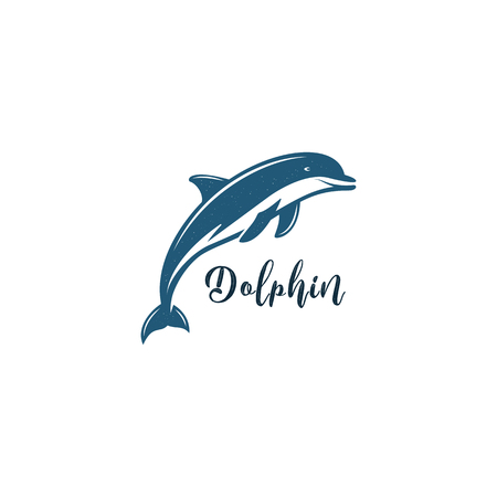 Silhouette symbol of dolphin isolated on white background. Wild animal pictograph for logotype templates. Vettoriali
