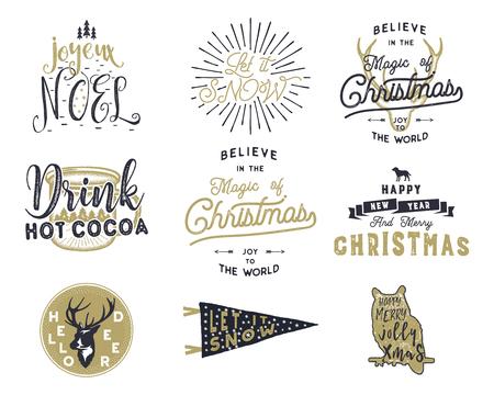 Big Merry Christmas typography quotes, wishes bundle. Sunbursts, ribbon and Xmas noel elements, icons. Ilustração