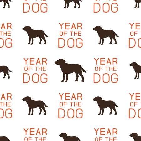 Year of the dog pattern. Symbol of 2018 seamless background. Dog icon and typography elements. Retro wallpaper. Stock illustration isolated on white Reklamní fotografie