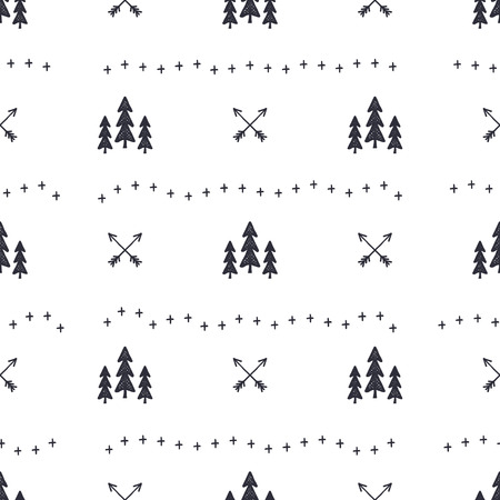 Hand drawn seamless pattern with Christmas tree, arrows design elements. Xmas wallpaper. Holiday background patter design isolated on white Stok Fotoğraf