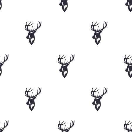 Cerfs tête pattern. animaux sauvages symboles de l & # 39 ; animal . icônes de papeterie . retro pattern vintage. illustration rétro isolé sur fond blanc Banque d'images - 98412909